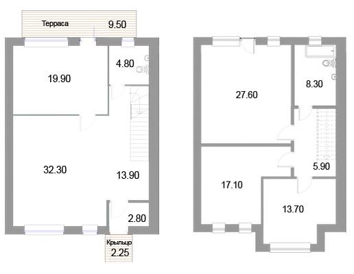 Планировка Четырёхкомнатная квартира площадью 149.2 кв.м в ЖК «Новые кварталы Петергофа»