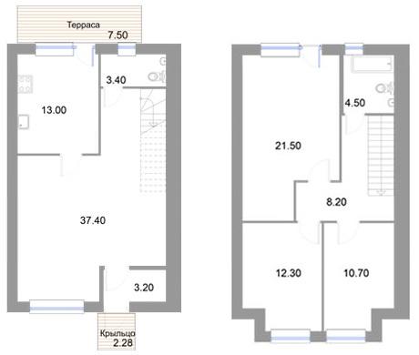 Планировка Четырёхкомнатная квартира площадью 120.7 кв.м в ЖК «Новые кварталы Петергофа»